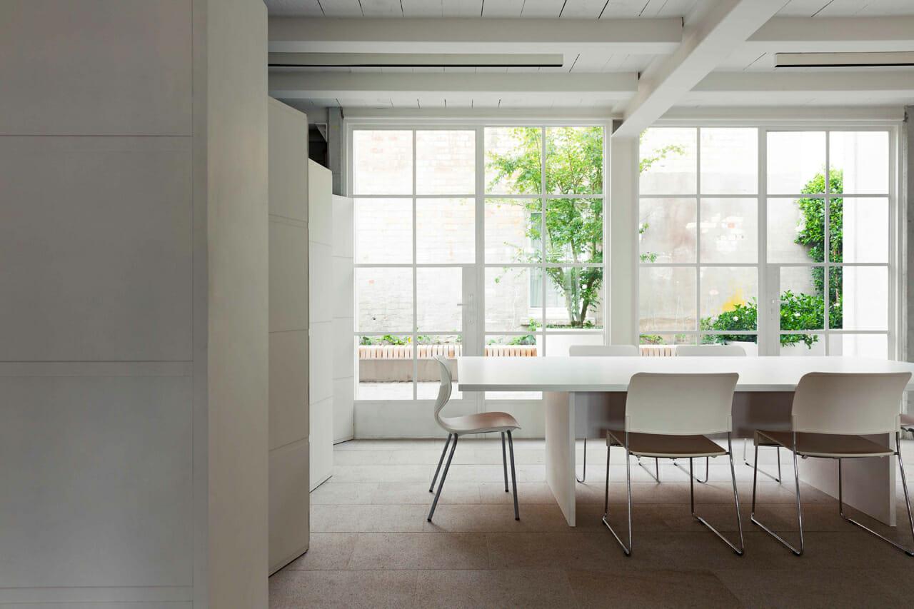 White framed steel windows and doors