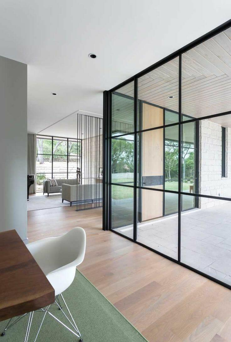 Black slim glass steel windows - custom residential and commercial