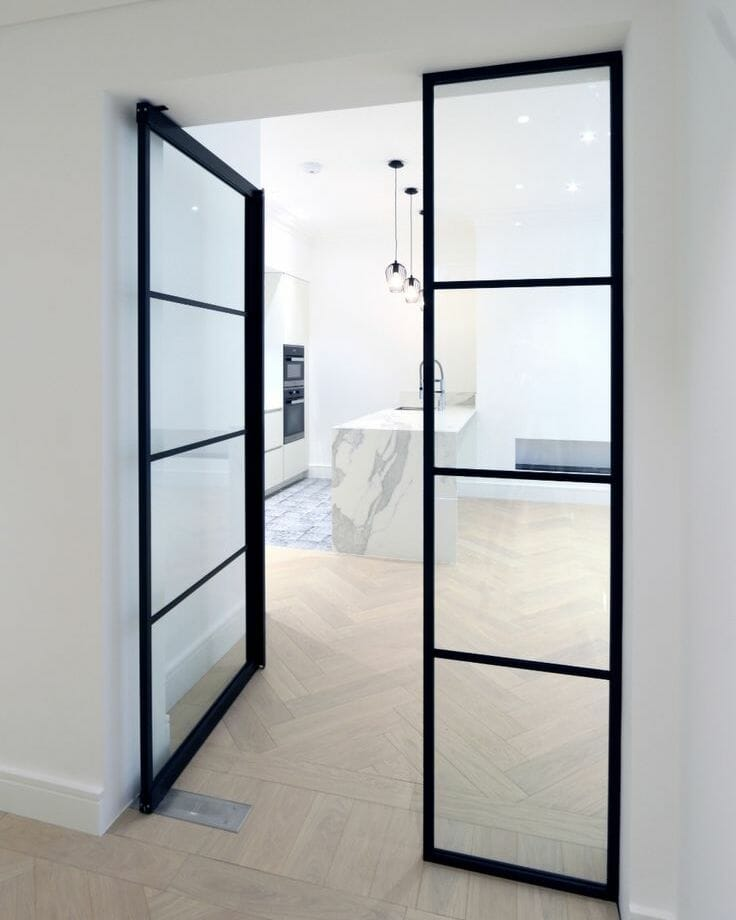 Black steel framed residential indoor glass doors