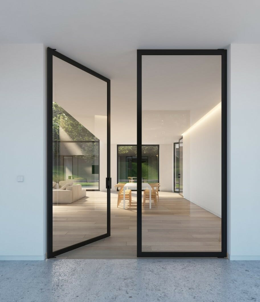 Minimalist Steel framed glass doors