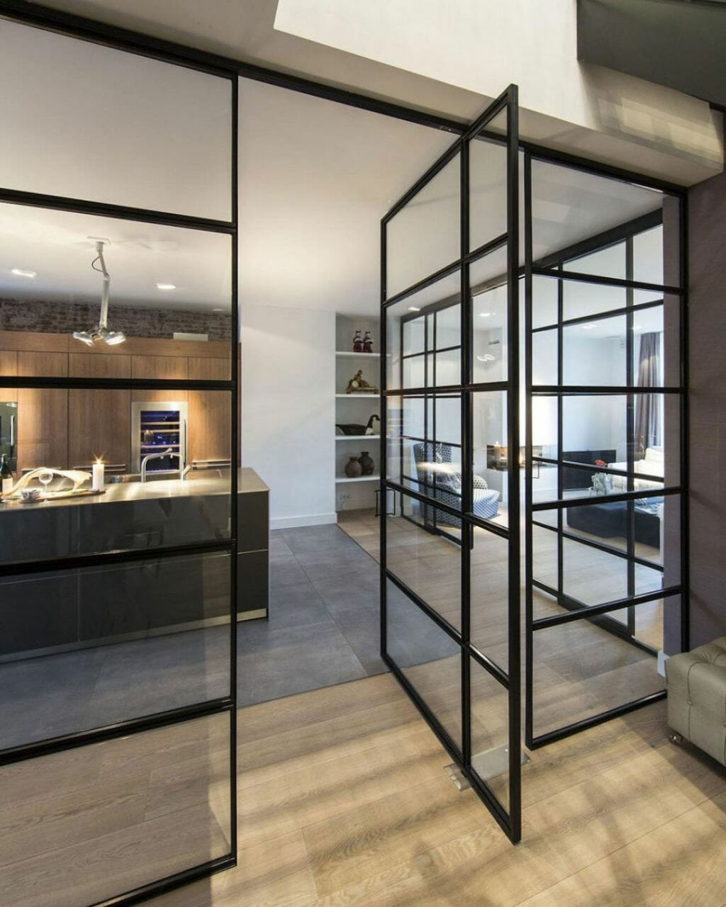 pivoting steel and glass internal doors and dividers